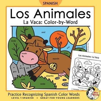 Los Animales de Granja: La Vaca Spanish Colors ~Color-by-W
