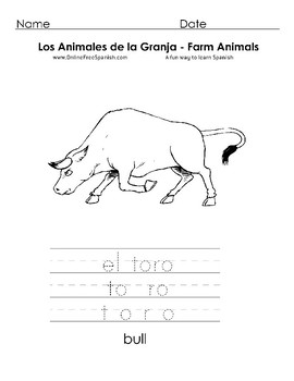 Los Animales de la Granja - Farm Animals -  Coloring Pages