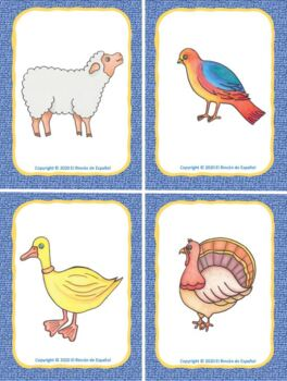 Los Animales de la Granja: Flashcards and Memory Game.
