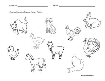 Los Animales de la Granja: Hojas de Trabajo I