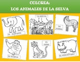Los Animales de la Selva: Coloring pages. Distance Learning