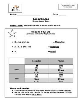 Los Artículos (Articles) Highlight Notes