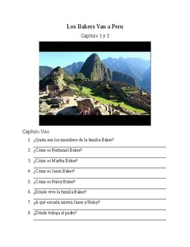 Los Baker Van a Peru Questions Chapter 1 and 2