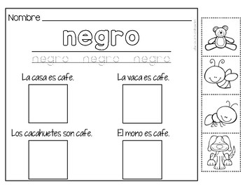 Los Colores -- A color word packet in Spanish!