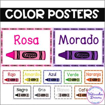 Póster de Los Colores - Color Posters in Spanish! Crayon Design