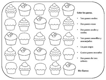 Los Colores Colors and Numbers Pan Dulce Coloring Sheet