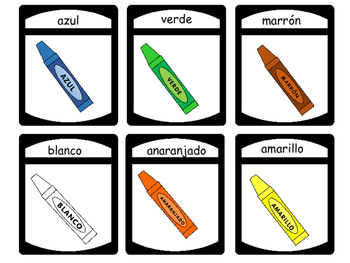 Los Colores Card Games # 1- Spanish Colors Vocabulary