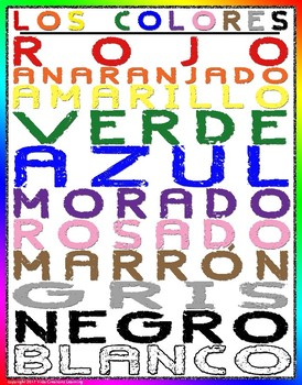Los Colores Poster (Spanish colors poster)