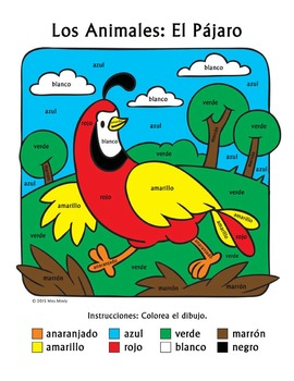 Los Animales: El Pájaro ~ Recognizing Spanish Color Names Color-by-Word