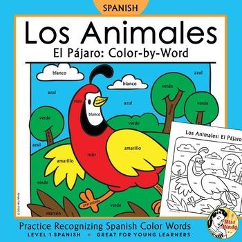 Los Animales: El Pájaro ~ Recognizing Spanish Color Names Color-by-Word