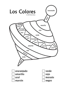 Los Colores Recognizing Spanish Color Names Coloring Worksheet {FREEBIE}