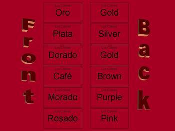 Los Colores Spanish Color Flash Cards