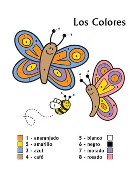 Los Colores Spanish Colors Color by Number Butterfly Worksheet