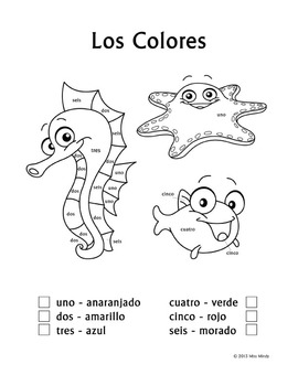 spanish colors printable coloring pages | Los Colores - Spanish Colors Color by Number Worksheets ...