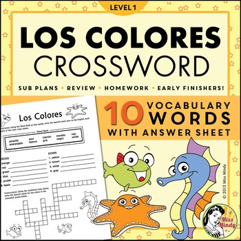 Los Colores Spanish Colors Crossword Puzzle Worksheet By Miss Mindy
