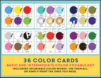 Los Colores Spanish Colors Go Fish Game - ¡Pesca! with Vocabulary (36 colors)