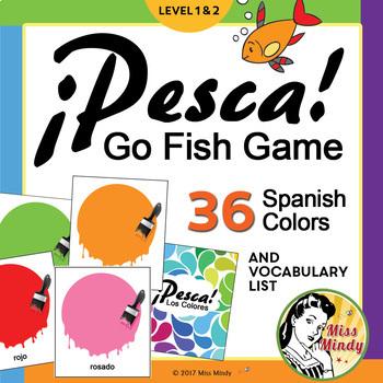 Los Colores Spanish Colors Go Fish Game - ¡Pesca! with Voc