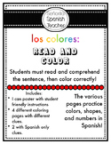 Los Colores Spanish Read and Color