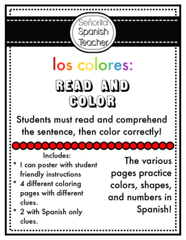 Los Colores Spanish Read and Color