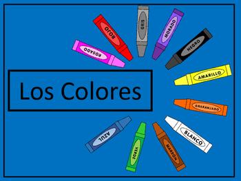 Los Colores Vocab Presentation, Emergent Reader and Colori
