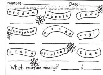 Los Colores Word Scramble