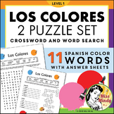 Spanish Colors (Los Colores) Crossword & Word Search Puzzle Worksheets
