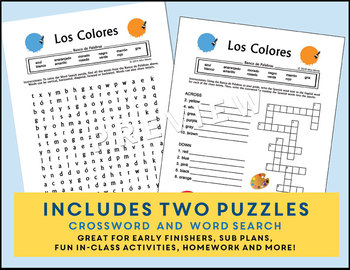 spanish colors los colores crossword word search puzzle worksheets. Black Bedroom Furniture Sets. Home Design Ideas