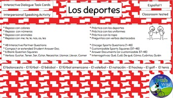 Los Deportes - 48 Interactive Task Cards - Interpersonal Speaking Activity