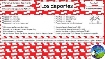 Los Deportes - 48 Interpersonal Dialogue Task Cards - Spanish 1