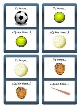 Los Deportes Yo tengo/¿Quién tiene? Card Game- Spanish Sports Vocabulary
