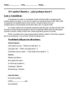 Task-Based Acts. Los Desafíos Globales, AP Language Theme: El Cambio Climático