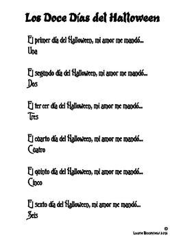 Los Doce Dias del Halloween Poem
