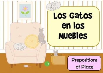 Los Gatos en Los Muebles - Spanish Preposition of Place Flashcards