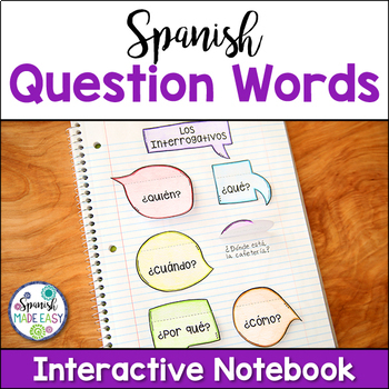 Palabras Interrogativas (Question Words) Spanish Interactive Notebook Activity