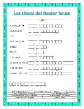 Dr. Seuss Books in Spanish-Leer a Través de América- Word Search & Double Puzzle