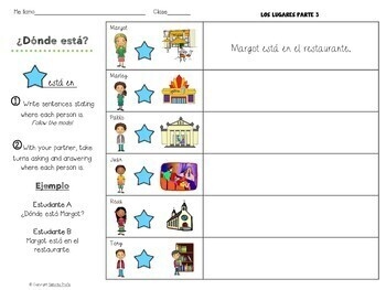 Los Lugares / Spanish Places Input, Output Activities Part 3