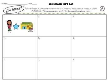Los Lugares / Spanish Places Input, Output Activities Part 4