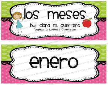 Los Meses - CUTE Green & Pink Months of the Year Headers in Spanish