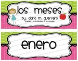 Los Meses - CUTE Green & Pink Months of the Year Headers i