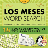Los Meses Spanish Months Calendar Word Search Puzzle