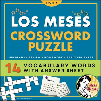 Los Meses Spanish Months Crossword Puzzle Worksheet