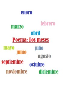 Los Meses del Año: Spanish poem with months and weather and comprehension act.