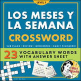Los Meses y La Semana Spanish Months and Days of the Week Crossword Puzzle