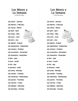 Los Meses y La Semana Spanish Months and Days of the Week Word Search Puzzle