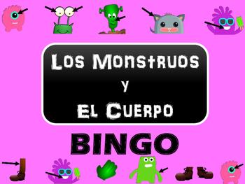 Los Monstruos y El Cuerpo BINGO - Body Vocabulary Bingo in