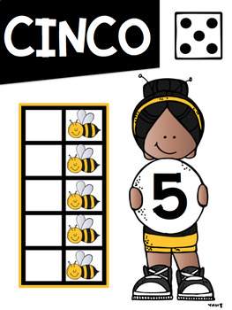 Los Numeros Math Anchor Charts #1-10 in Spanish Bee Theme