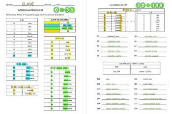 Los Números: Spanish Numbers 0-31, 30-99, 100-199