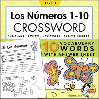 Los Numeros Spanish Numbers 110 Crossword Puzzle Worksheet by Miss Mindy