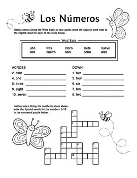 Los Numeros - Spanish Numbers 1-10 Crossword Puzzle Worksheet by ...