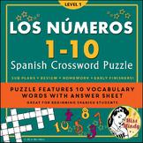 Los Numeros - Spanish Numbers 1-10 Crossword Puzzle Worksheet